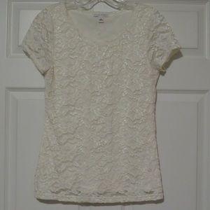 🧡Banana Republic Ivory Lace Overlay Blouse Size S